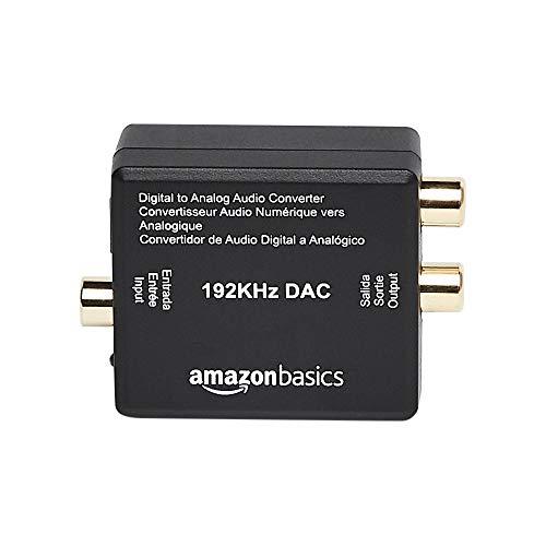 Amazon Basics - Convertitore da ingresso audio digitale ottico coassiale ad analogico RCA, 192 KHz, materiale ABS