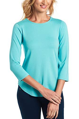 Cupio Womens Basic 3/4 Sleeve T-Shirt, Juliana Crepe Knit Solid Shirttail Hem