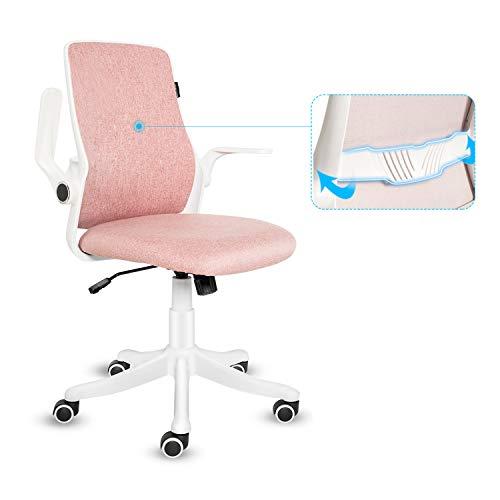Fullwatt - Sedia da ufficio con bracciolo ribaltabile, ergonomica, con chiusura a 120°, rotazione a 360°, base in resina di nylon rinforzata, colore: Rosa