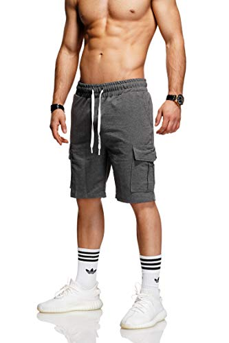behype. Herren Sweat-Shorts Kurze Hose Sport-Hose Jogging-Hose Trainings-Hose Freizeit Side-Stripe 60-8110 (L, Dunkelgrau (1802))