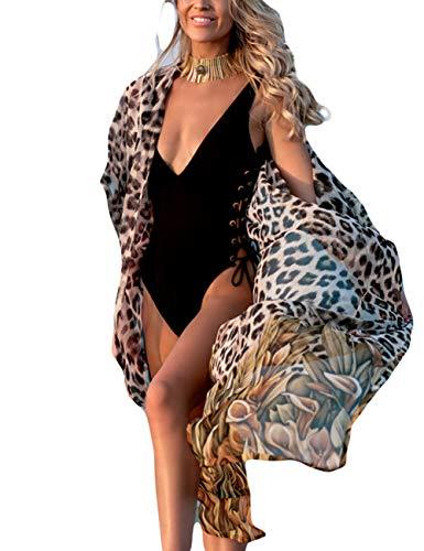 Bsubseach Mujer Bohemio Gasa Bikini Cubierta Traje de Baño Cárdigan con Flecos