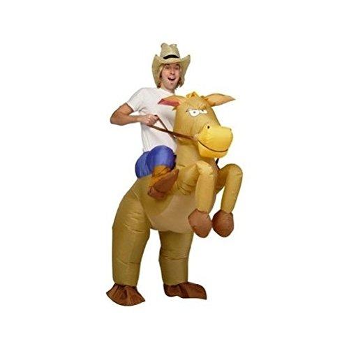 DeliaWinterfel Costume Gonfiabile da Cowboy E Cavallo - Taglia Adulto by