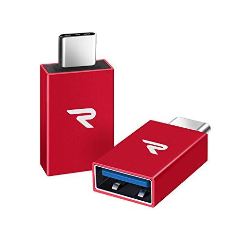 RAMPOW Adaptador USB C a USB 3.1 OTG USB C-[2 Unidade] Aluminio Adaptador USB C para Nuevo MacBook, Huawei Mate 20/30/40, Samsung Galaxy S8/9, ChromeBook Pixel y Dispositivos con USB C- Rojo