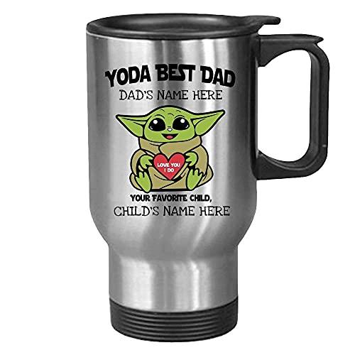 DKISEE Taza de té de café de viaje personalizada para papá de 14 onzas Yoda Best Love You I Do From Favorite Child Star Wars