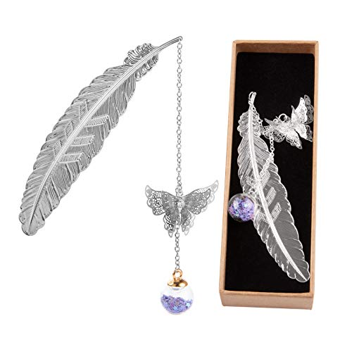 Metal Bookmarks, Feather Book Mark 3D Bookmark with Butterfly and Glass Beads Pendant, Gifts for Reading Lovers Women Men Kids (Sliver Feather Purple Stars)