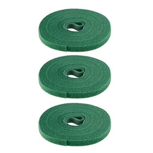 DyniLao Sujetacables reutilizables 5m 16.4ft Correas de alambre Sujetador de cable ajustable Verde 3pcs