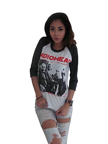 Bunny Brand Women's Thom Yorke RADIOHEAD Pop Rock Music Raglan T-Shirt (Large, White)
