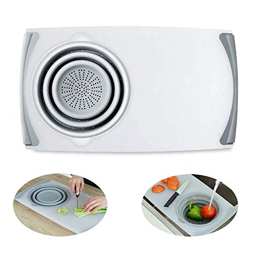 GWFVA Over The Sink Cutting Chopping Board Strainer,Dishwasher Safe Multi-Function Thicken Board,BPA Free,for Vegetable,Fruit,Spaghetti etc