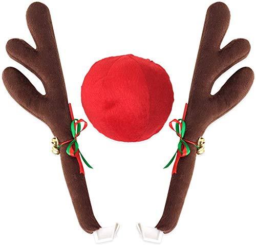 Abnaok Car Reindeer Antlers & Neus Voertuig Kerstversiering met Jingle Bell, Auto Kerst Kostuum