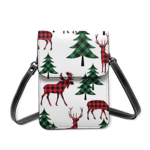 クリスマスツリー トナカイ スマホポーチ お財布 ポシェット ショルダーバッグ 斜めかけバッグ おしゃれ 軽量 6.5インチまでのスマホ対応 レディース