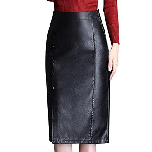 DIAOD Otoño Invierno Negro Cuero Elegante Lápiz Faldas Mujeres Botón Falda dividida de cintura alta (Color : Black, Size : XXXL code)