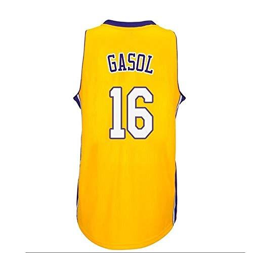 Camiseta Baloncesto Jersey NBA Masculino PAU Gasol # 16, Transpirable Resistente Al Desgaste Bordó La Camiseta Camiseta, XS-XXL, FHI009IHF (Color : B, Size : XXL)