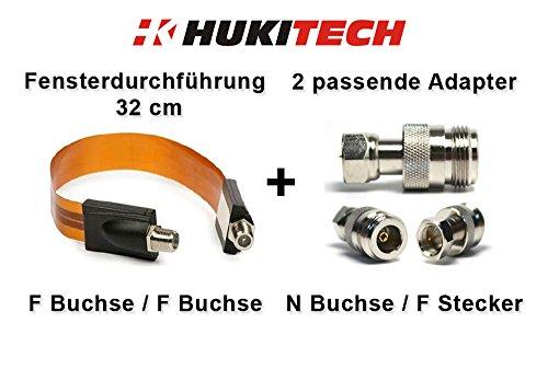 HUKITECH SET: vlakke vensterdoorvoer (32 cm) + 2 bijpassende HUKITECH adapters - SET geschikt voor alle HUKITECH repeater