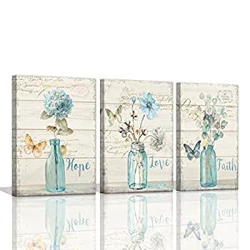 Flowers Pictures for Bathroom Decor Wall Art Butterfly Wall Pictures Floral Canvas Paintings Wall Art Faith Hope Love Quotes Inspirational Wall Art Still Life Farmhouse Bathroom Wall Decor 12x16inchx3