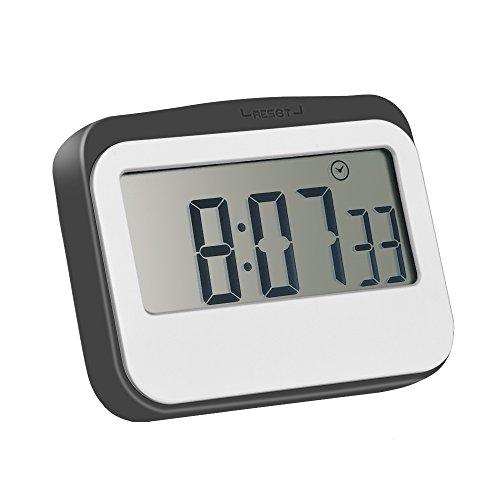 Magnetischer Alarm Digitaler Küchentimer Stoppuhr Eieruhr 24 Stunden mit großem Bildschirm, Grau-Weiß