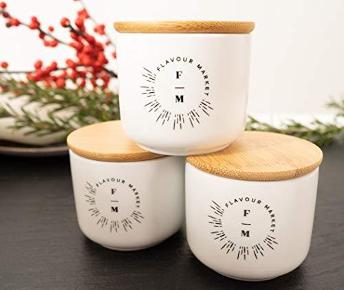 Flavour Market Vorratsdose Keramik 3er Set à 75ml - Keramik Vorratsdose lichtgeschützt - Gewürzdosen Keramik