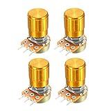 uxcell ポテンショメータ 10K Ohm 可変抵抗器 シングルターン カーボンフィルム 回転式 テーパ ノブ付き 4個入り