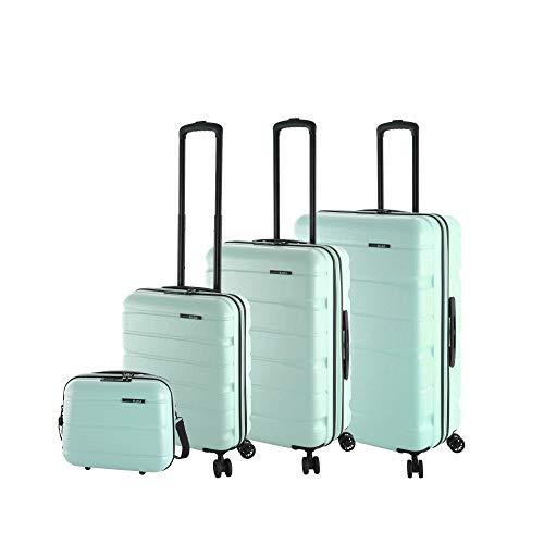 Rada Koffer Set Hartschale 4 Rollen (4-TEILIG) aus robustem ABS-Material, Reise Trolley Damen und Herren, inkl. Kosmetikkoffer, Handgepäck (Mint)