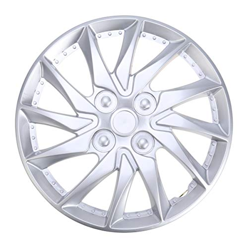 CLISPEED - 1 tapacubos de 14 pulgadas para llantas de coche, coche, coche, neumático, piezas de repuesto, color plateado