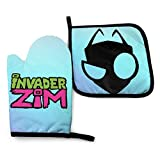 BITH Cartoon in-vad-er Z-im G-ir Oven Gloves and Pot Mats, Thick and Durable, Anti-scalding...