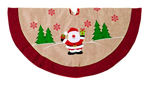Christmas Decorations Christmas Tree Skirt Natural Jute with Felt Detailing