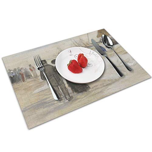 Genertic - Set di 4 tovagliette antiscivolo per tavolo da pranzo Van Gogh The Beach At Scheveningen, lavabili e facili da pulire, 30 x 45 cm, rettangolari resistenti alle macchie