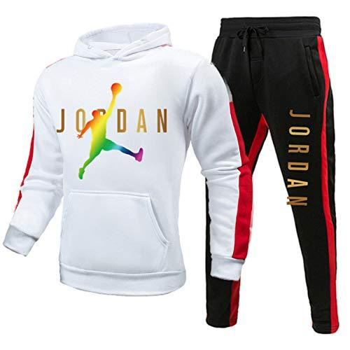 KJHA Bulls 23 # Jordan Chándal completo para hombres y niños, juego de sudadera de baloncesto y pantalones casual de 2 piezas neutral suelta sudadera (S-XXXL) blanco 2-XXL