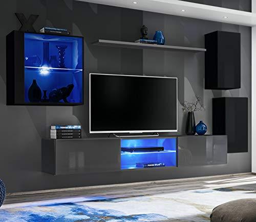 ASM SWITCH XXIII Wohnwand 250cm breit TV Ständer Display Glas Schrank PUSH-CLICK Türen LED Beleuchtung Grau Schwarz Hochglanz