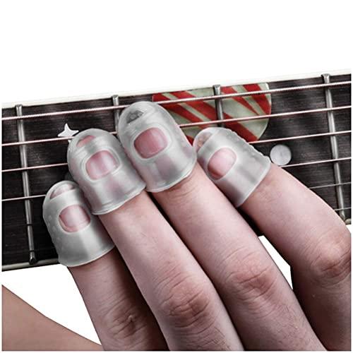 TYUXINSD Hermosa Condones de los Dedos para la Guitarra Mano Izquierda Anti-Dolor Cuna Ukelele Protectora Finger Almohadilla de Alivio Guantes de Alivio (Size : Finger Protector Small)