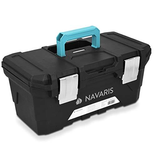 """Navaris Cassetta degli attrezzi lavoro vuota - Valigetta 16"""" in plastica rigida - Organizer arnesi strumenti capacità 15l - con vassoio removibile"""