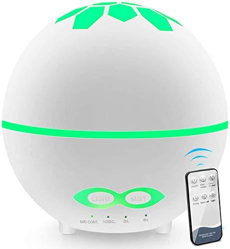 DAYNEW Humidificador ambientador Difusor de Aromaterapia,400ML Difusor de Aceites Esenciales,Humidificador Ultrasónico con LED de 7 Colores de para luminoterapia en el Hogar,Oficina,SPA,Bebé,Blanco
