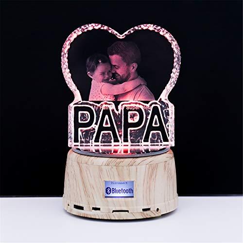 7 Colores Foto Grabada Y Nombre Cristal Heart Music Lámpara Bluetooth Led Night Light Marco De Fotos Único Día De San Valentín Aniversario Ideas De Cumpleaños Para Niños Mujeres Papá