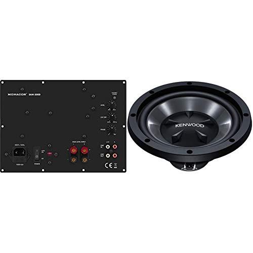 Monacor SAM-300D Aktives Subwoofer-Modul Klasse-D für das Digitale Zeitalter, Einbau-Verstärker in Schwarz mit Lautsprecherschutz & Kenwood KFC-W112S KFC-W 112 S 300mm Subwoofer (800 Watt) schwarz