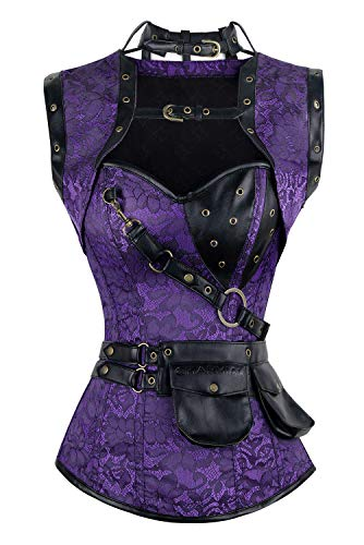 Charmian Women's Steel Boned Retro Goth Brocade Steampunk Bustiers Corset Top with Jacket and Belt Purple X-Large