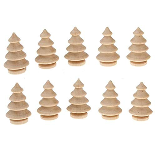 10Pcs Unfinished Wood Christmas Tree DIY Natural Wooden Xmas Tree for Arts and Crafts Children Kid Graffiti Drawing Toy