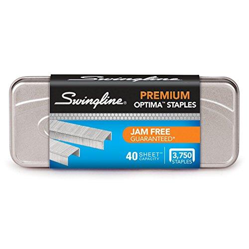 "Swingline Staples, Optima, Premium, 1/4"" Length, Jam Free Staples for Swingline Stapler Heavy Duty, Perfect for Home Office Supplies & Desktop, 40 Sheet Capacity, 210/Strip, 3750/Box, 1 Pack (35556)"