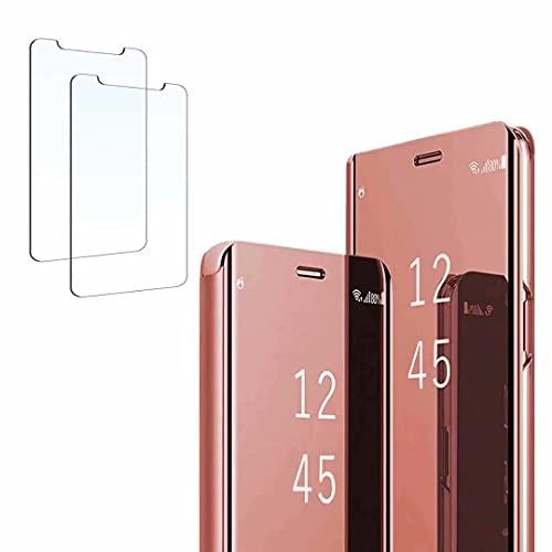 Ttianfa Funda para Samsung Note 5 Edge Funda Espejo Flip Tipo Libro,Hora Ver Inteligente Fecha Soporte Plegabl Protector Pantalla PU Caso Duro 360 a Prueba de choques Funda conNote 5 Edge,Oro Rosa