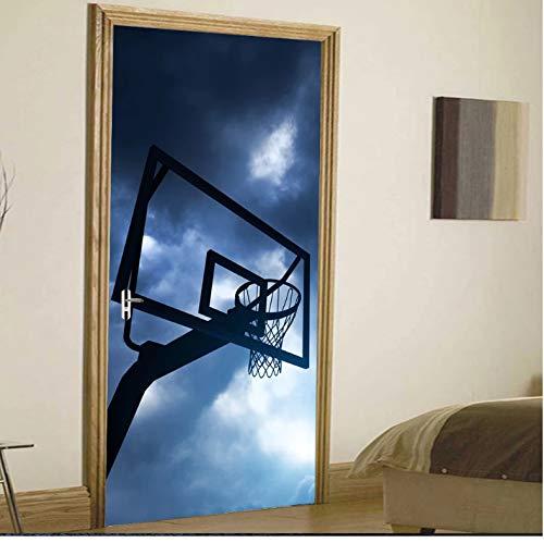 Mural Para Puerta Deportes Baloncesto Niños Niño Salón Dormitorio Desmontable Autoadhesivo Papel Pintado Puertas 90 X 200 cm
