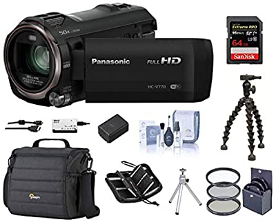 Panasonic Full HD Camcorder HC-V770, 20X Optical Zoom, Bundle | Cam Case + 49mm Filter Kit + Extra Battery + 32GB SD Card + Gripper Tripod + Memory Wallet + Table Tripod + Cleaning Kit + Card Reader from Panasonic