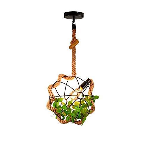 JYDQM Luz de Techo Decoración de Plantas Vintage Globo Negro Jaula Cuerda de cáñamo Hierro Forjado Pequeña lámpara Colgante (33 * 33 cm)