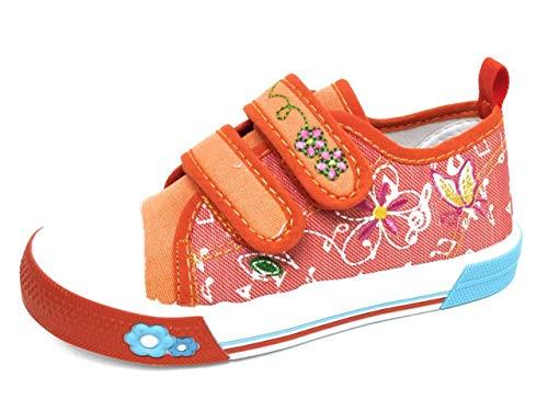 Zapatillas para Niña Lona Bordada | Bambas Bonitas Niña para Primavera Verano (Naranja, 29)