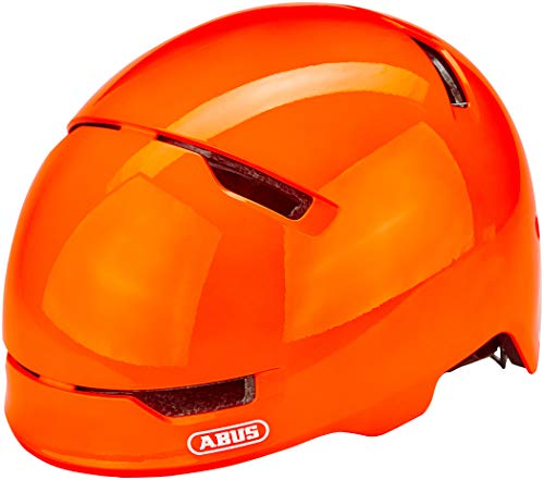 ABUS Scraper 3.0 Kid Kinderhelm - Robuster Fahrradhelm für Kinder - mit Rücklicht für den Stadtverkehr - für Jungs und Mädchen - 81756 - Orange Glänzend, Größe S