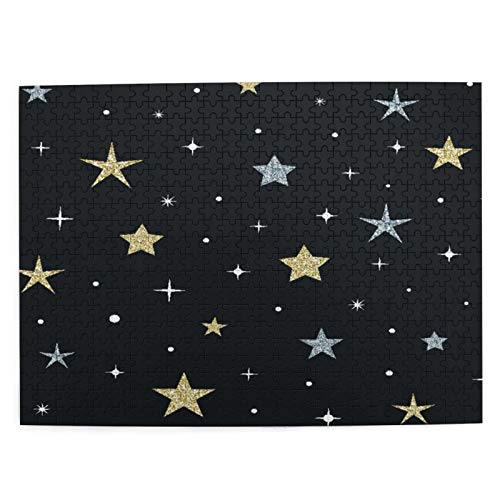 CVSANALA Rompecabezas con Imágenes 500 Piezas,Cielo Nocturno Brillantes Estrellas Doradas Plata,Educativo Juego Familiar Arte de Pared Regalo para Adultos,Adolescentes,Niños,20.4' x 15'