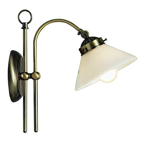 Applique laiton antique, opale, interrupteur, LxH:250x280, excl. 1xE14 40W 230V
