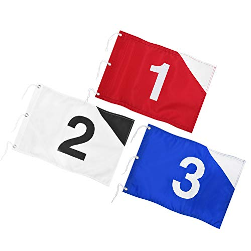 KINGTOP Golf Flag with Grommets and Securing Strings, Putting Green Flags for Yard, Durable Heavy Duty 420D Nylon Golf Pin Flag, 20' L x 13' H, 3 Pack