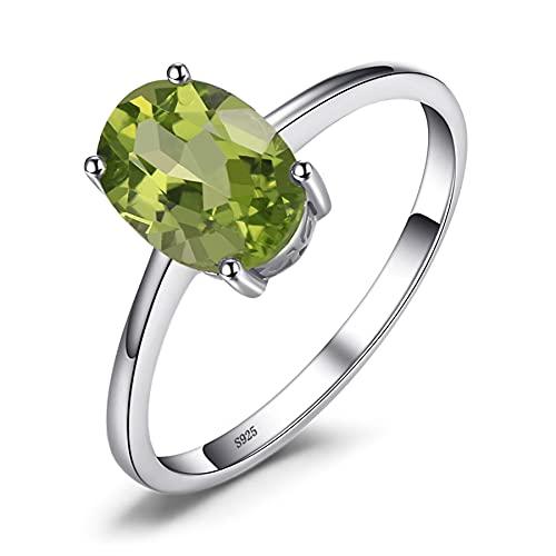 Anillo de peridoto Solitario 925 Anillos de plata esterlina para mujer Anillo de compromiso Plata 925 Joyas de piedras preciosas 9