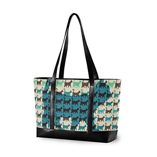 Computer große Kapazität Mädchen Casual Fashion Nahtlose Cartoon Katzen Bunte Einkaufstasche Handtasche