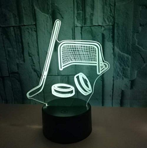 BZL POP 3D Slideshowice Hockeyschläger Lampe Bunte Touch Switch Remote Remote Switch Kleine Nachtlampe 3D Atmosphäre Geschenk Kleine Led Nachtlicht