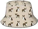Bedruckter Boston Terrier Hund Anglerhut Polyester Casual Travel Kopfbedeckung Sonnenhut
