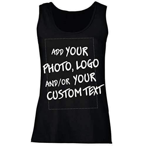 lepni.me Camisetas sin Mangas para Mujer Regalo Personalizado, Agregar Logotipo de la Compañía, Diseño Propio o Foto (Large Negro Multicolor)